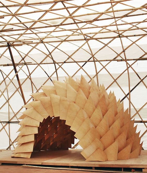 The Dragon Skin Pavilion, a collaboration between the Laboratory for Explorative Architecture and Design (LEAD), a Hong Kong- and Antwerp-based firm, and the Tampere University of Technology in Finland: