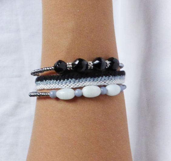 Bracelets perles noires, blanches, brésilien lot de 3 : Bracelet par kiline