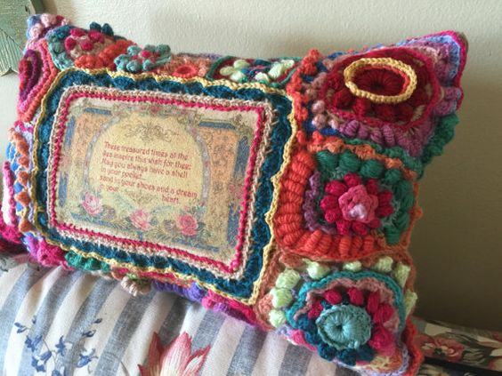 Freeform crochet pillow by Urbantownie on Etsy