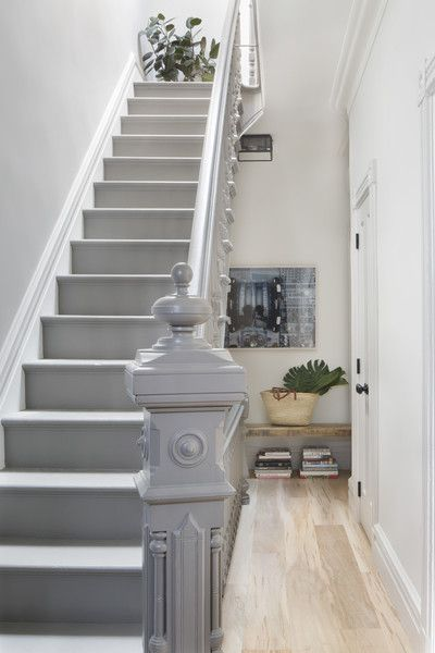 Contemporary Staircase: A painted gray staircase..: