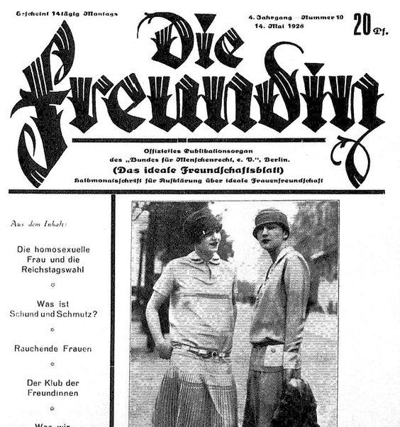1926 issue of a popular German lesbian magazine, Die Freundin (The Girlfriend)
