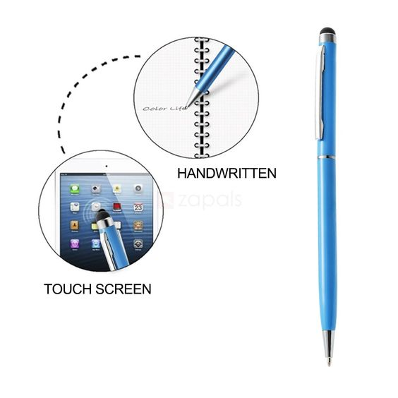 Touch Screen Capacitive Stylus with Ballpoint Pen - Blue. Now you can navigate your phone's or tablet's capacitive touch screen with this slim stylus which features a built-in ballpoint pen for dual sage. The 6mm soft rubber tip allows you to type and text accurately and comfortably, without leaving marks and scratches. The pocket clip lets you maintain easy access to the stylus in a bag or backpack.