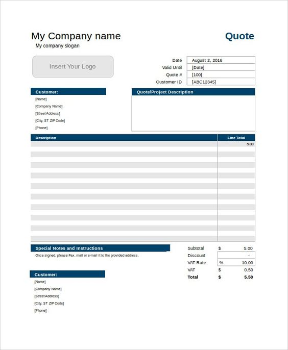 Free Quote Template  Quotation Template    Quotation