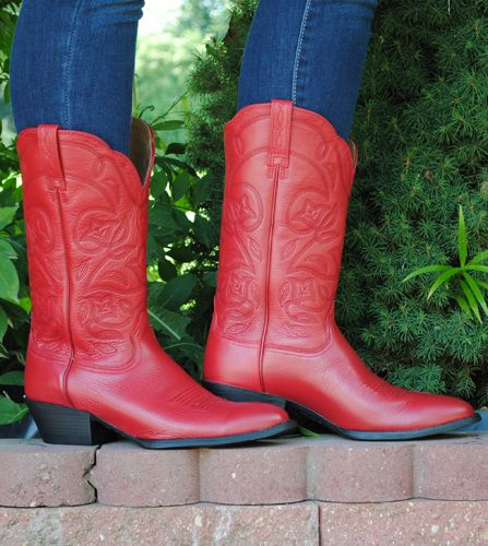 WESTERN HERITAGE ROUND TOE LEATHER BOOTS BY ARIAT BOOTS RED http