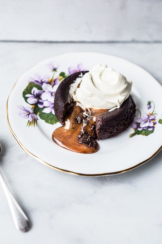 Salted Caramel Filled Molten Chocolate Cakes - Top With Cinnamon