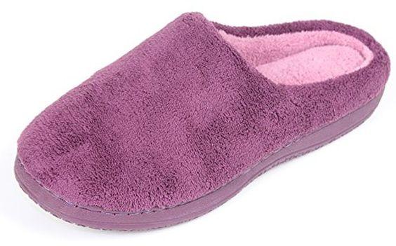 LUXEHOME Women's Slip On Indoor/Outdoor Coral Fleece Footwear/Slippers