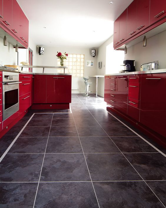 Piso vinílico utilizado em cozinha