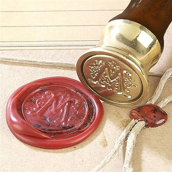Scroll Initial Wax Seal Kit - Ceramic Handle & Red Sealing Wax