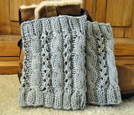 Crochet Boot Cuffs With Lace Pattern : Cable Eyelet Boot Cuffs - Knitting Patterns and Crochet ...