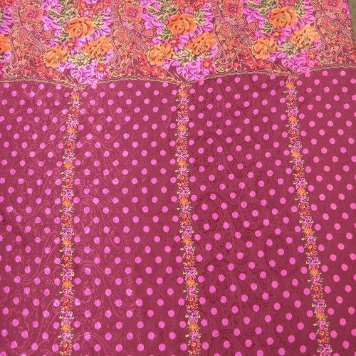 Pink Dotted and Floral on Pink Patterned Design Silk  #hautecouture #silk #printed #fabric #fabricstore #coralgables #shopping #onlineshopping #fabrics #women #womensfashion #fashion #fashionfabrics