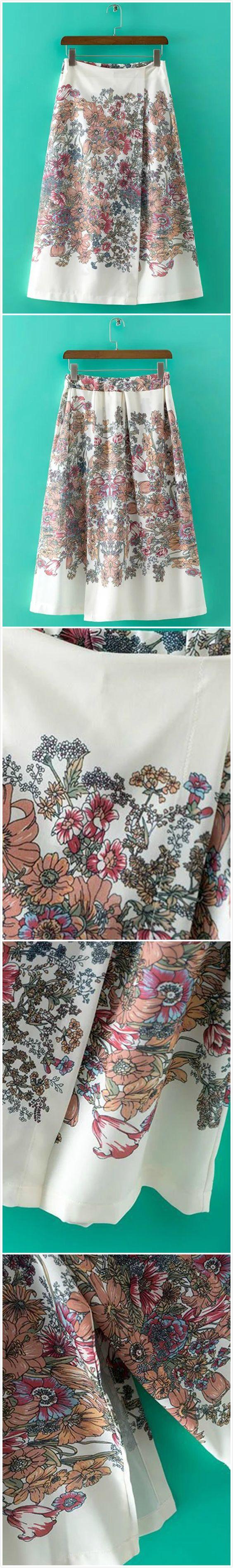 Women's Vintage Floral Print Elastic Waist Wide-legs Pants