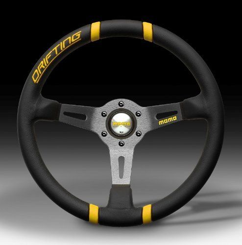 MOMO Steering Wheel Drifting - Deep Dish - Black Leather/Yellow - 350mm (13.8 in.) - Part # DRF35BK1Y by MoMo, http://www.amazon.com/dp/B0064H96QC/ref=cm_sw_r_pi_dp_B340rb0N9FN6F