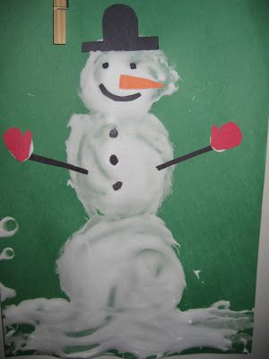 Making homemade puff-paint snowmen