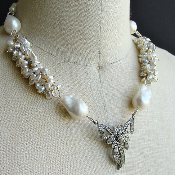 Diamante arco collar diamantes en bruto por karensugarmandesigns, $1825.00