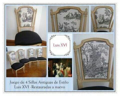 Juego de 4 sillas Luis Xvi