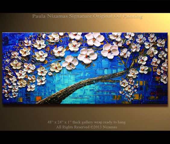 Acrylic and Oil large Blooming Tree Painting on canvas por Artcoast