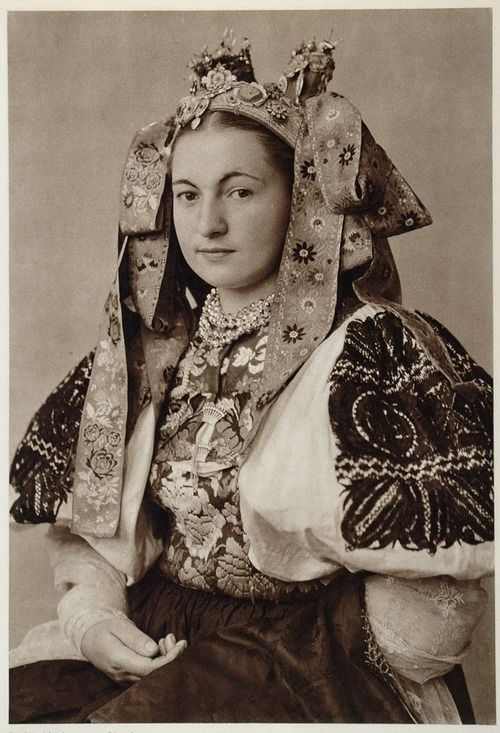 Beautiful bridal costume of Ocova, Slovakia 1953. Bride from village Očová, Podpoľanie region, Central Slovakia.: