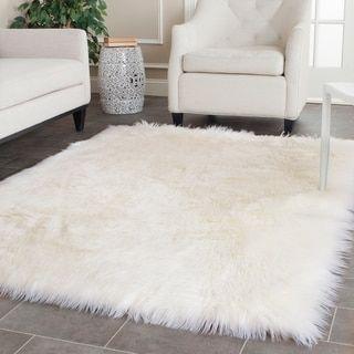 Safavieh Faux Sheep Skin Alexandria Shag Solid Rug 9 X 12 Ivory White Fur Rug Room Rugs Plush Area Rugs