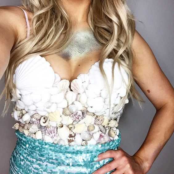 DIY Mermaid Costume // Fish scales make-up  // Shell bra top