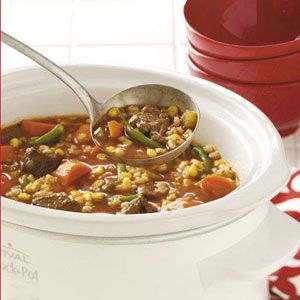 "Vegetable Beef Barley Soup (Crock Pot)--Yummy!  Used beef stock (not water), added extra veggies b/c no corn.  Family eating as a ""snack!"""