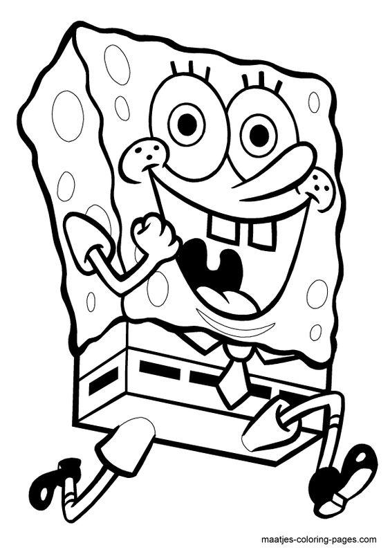 Running SpongeBob SquarePants coloring page