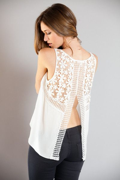 Crochet Back Tank- White