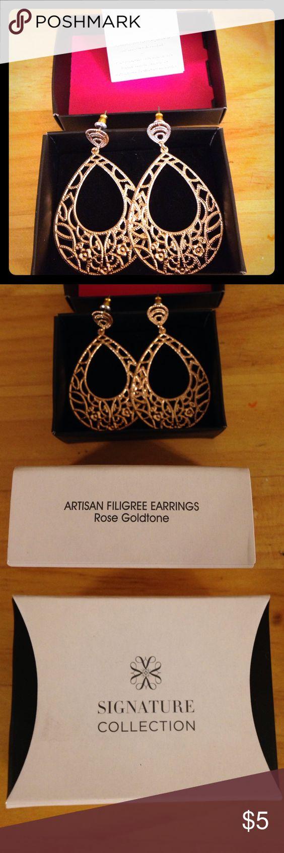 "Artisan Filigree Earrings Rose gold tone filigree earrings, post style. 2 3/8"" long. Avon. New in original box. Avon Jewelry Earrings"
