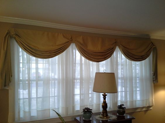 Fishtail swag curtain on large window | sewing | Pinterest | Swag ...