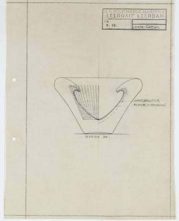 Tekening Serica 53 blauw spijkerglas A.D. Copier Leerdam
