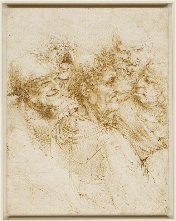 Leonardo Da Vinci, Five grotesque heads, (ca 1493), pen and ink; 260 x 205 mm. The Royal Collection / HM Queen Elizabeth II