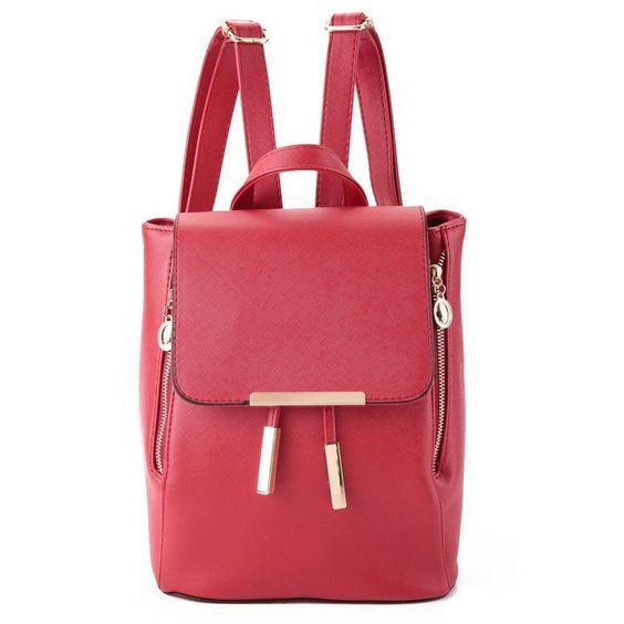 Fashio Pu Leather Satchel Shoulder Backpack School Rucksack Travel  Bags Women
