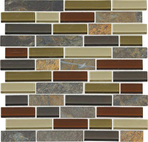 "Mohawk Phase Mosaics Stone And Glass Wall Tile 1"" Random"