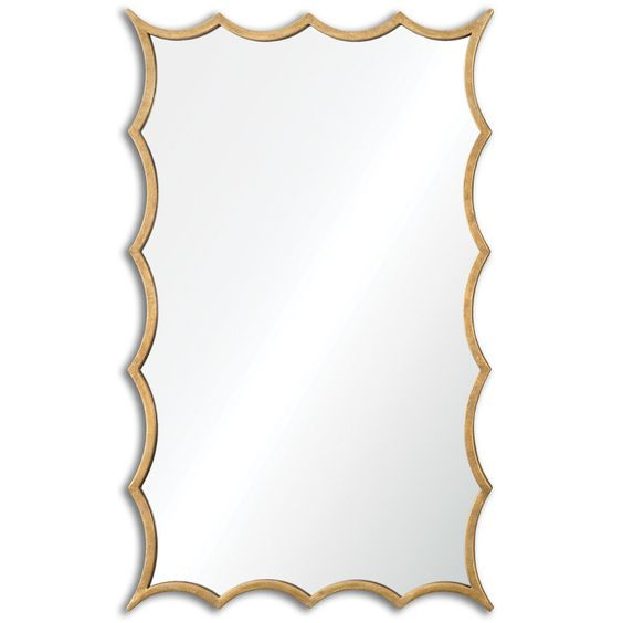 Scalloped Rectangular Mirror - Gold Leaf