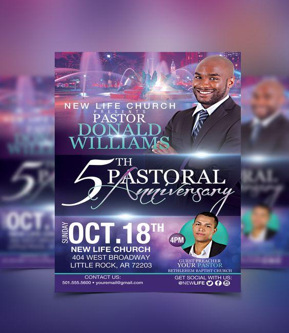 Pastoral Anniversary Flyer Template #flyerthemes | Church Flyer ...