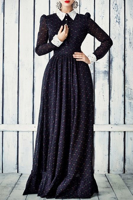 Long Sleeve Tiny Floral Print Maxi Dress #retro