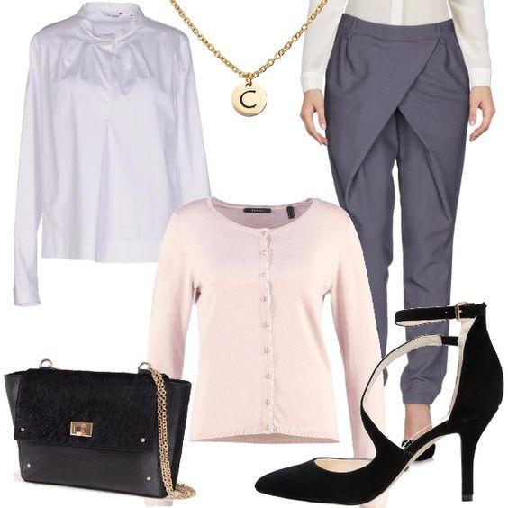 """Outfit bon ton da """"ragazza della porta accanto""""...ma ovviamente chic! Pantalone grigio con chiusura a portafoglio, camicia bianca con colletto arricciato, cardigan rosa, scarpe nere comode, borsa fur e collana che riprende la catenella della borsa."""