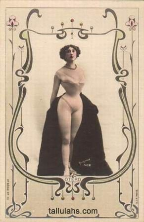 """Vintage 19th century picture card of Carolina """"La Belle"""" Otero, a woman with the intelligence and force to will to use her beauty as a Spanish Courtesan to make her life what she wished it to be.  Here, not wearing very much at all.:"""
