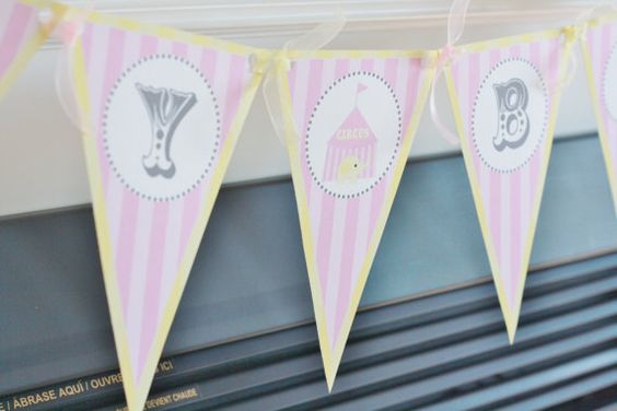Happy Birthday Pennant Flag Pink & Yellow by DreamPartyPaperie, $26.00