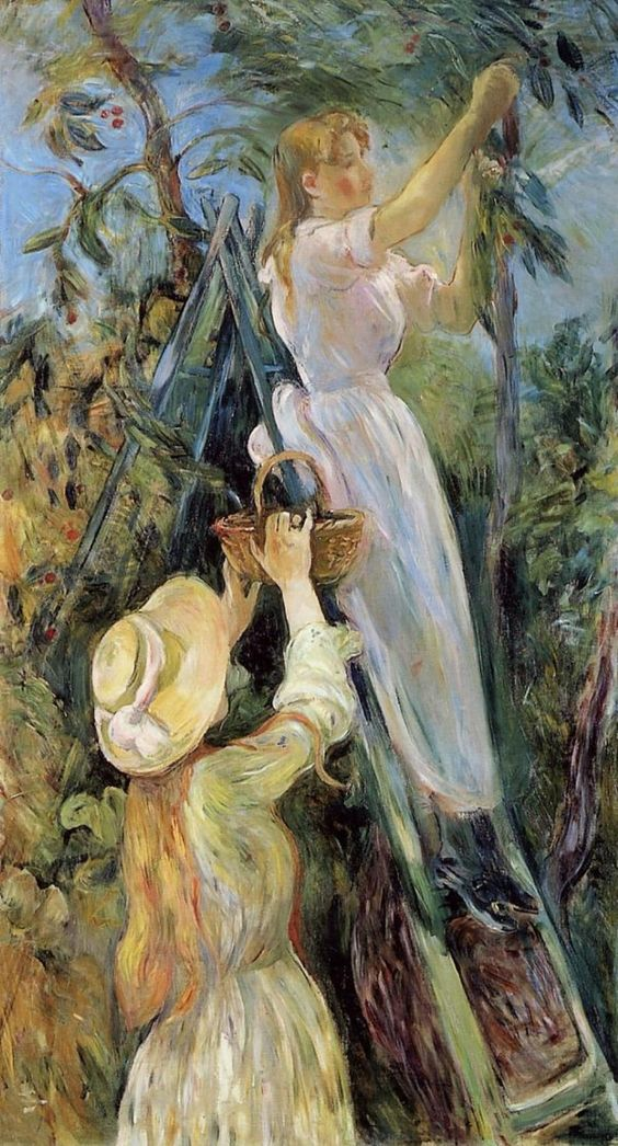 """El árbol de las cerezas """"por Berthe Morisot. Una de sus últimas obras, considerada su obra maestra.:"""