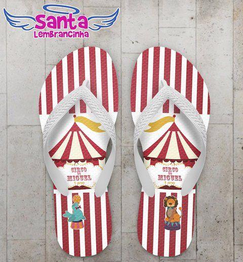 Chinelo Festa Infantil Tema Circo Personalizado