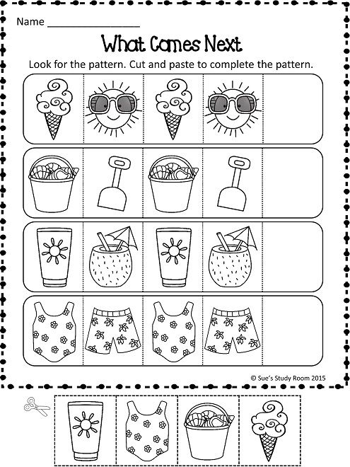 PATTERNS: Summer Patterns Worksheets | Summer patterns, Worksheets ...