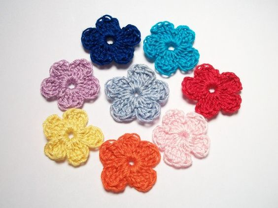 Appliques flowers colorful handmade supplies by JazzysCrochet