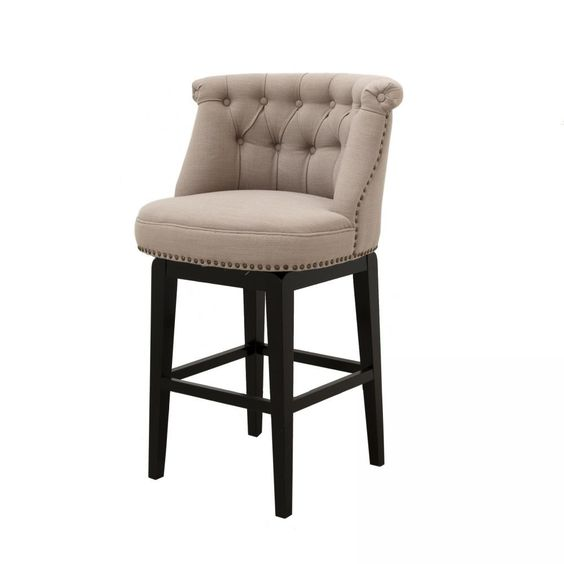Sora Swivel Counter Stool Upholstered Bar Stools Fabric Bar Stool Padded Bar Stools Swivel counter stools with arms