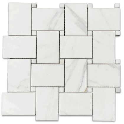 "Calacatta Gold Wide Basketweave 2x3"" Honed Marble Mosaic Tile"