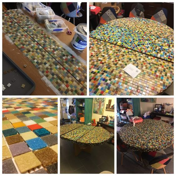 Tips and tricks to tiling (mosaicing) an entire table to recreate a 1950s vintage tabletop for half the price. Zorra Creative Fox Studio