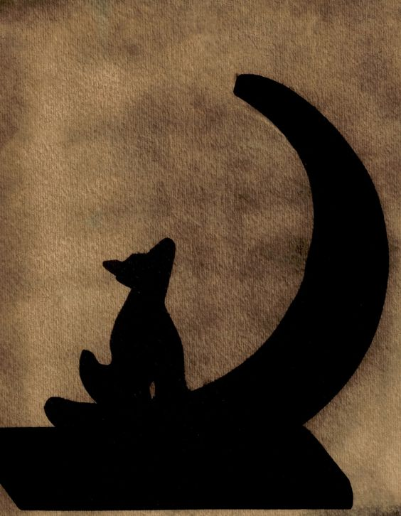 silhouette image of a wolf howling at the moon