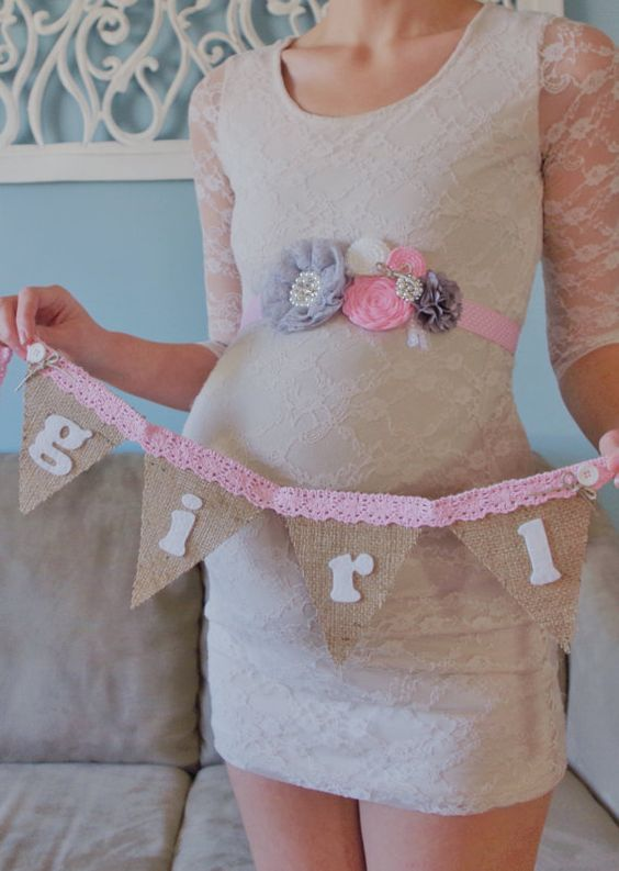 shabby chic it 39 s a girl pregnancy sash for gender reveal. Black Bedroom Furniture Sets. Home Design Ideas