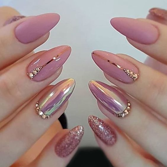 Mirror Metal Nail Art Soak Off Uv Gel Polish Nail Art Pink Nail Art Elegant Nails Pink Nail Art Designs