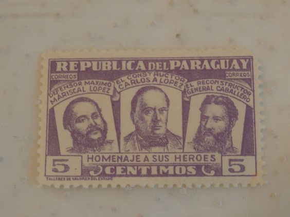 Violet Homenaje a Sus Heroes Republica del Paraguay 5 Centimos Stamp.  Dates to 1954, I think.