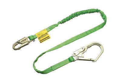 """Miller by Honeywell 219TWRS/6FTGN 6' Manyard HP Polyester Web Single-Leg Shock-Absorbing Green Lanyard With 3/4"""" Locking Snap Hook And 2 1/2"""" Locking Rebar Hook"""